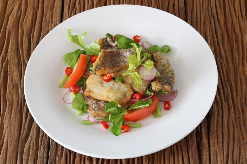 Salada picante frita de tricogaster pectoralis fotografia de stock