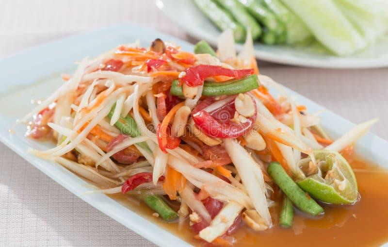 Salada picante tailandesa da papaia fotos de stock