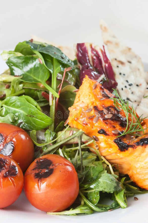 Salada salmon do tandoori fresco com chapati foto de stock royalty free