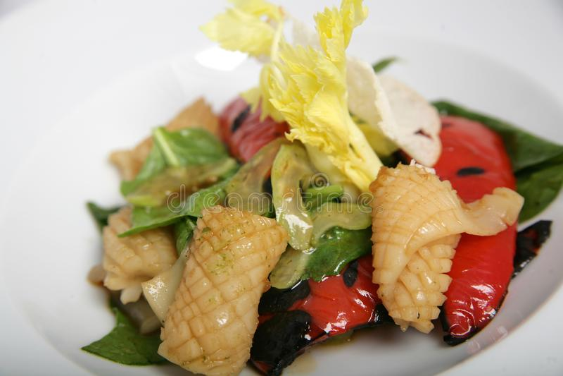 Salada saudável, bonita, dietética do calamar e vegetais grelhados fotos de stock royalty free