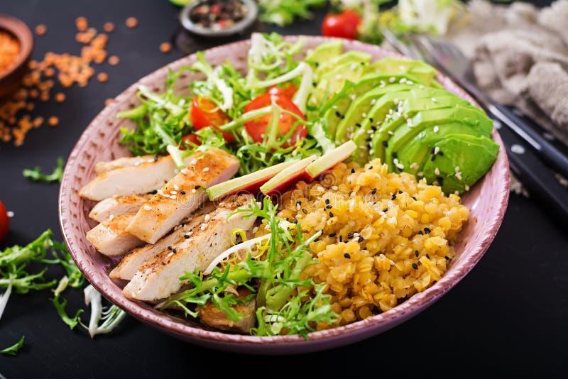 Salada saudável com galinha, tomates, abacate, alface, rabanete da melancia fotos de stock