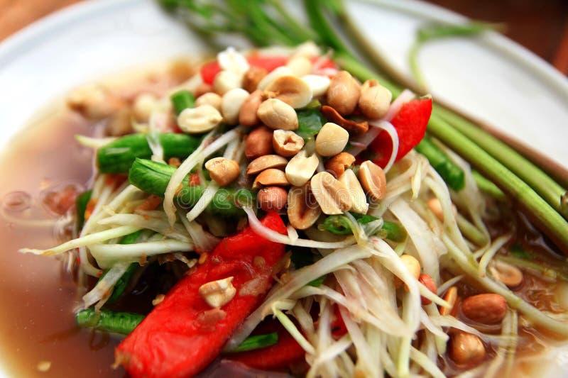 Salada tailandesa da papaia fotografia de stock royalty free