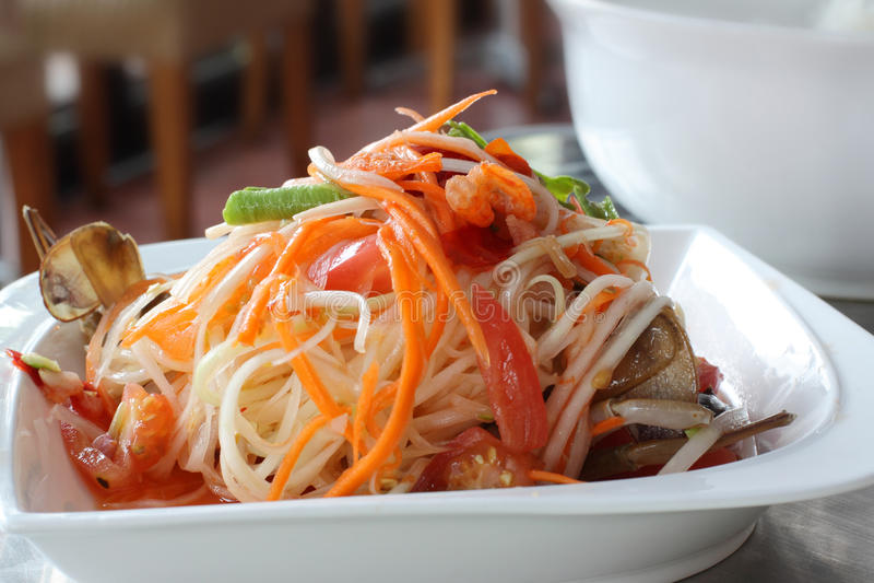 Salada tailandesa da papaia (Tum do som) fotos de stock royalty free