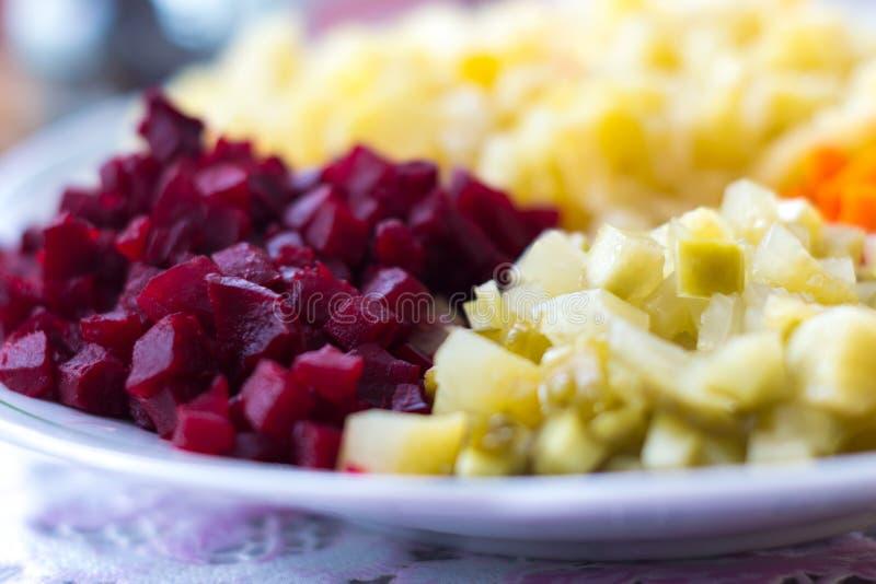 Salada vegetal com batatas, beterrabas, pepino, cenouras e cebolas imagens de stock