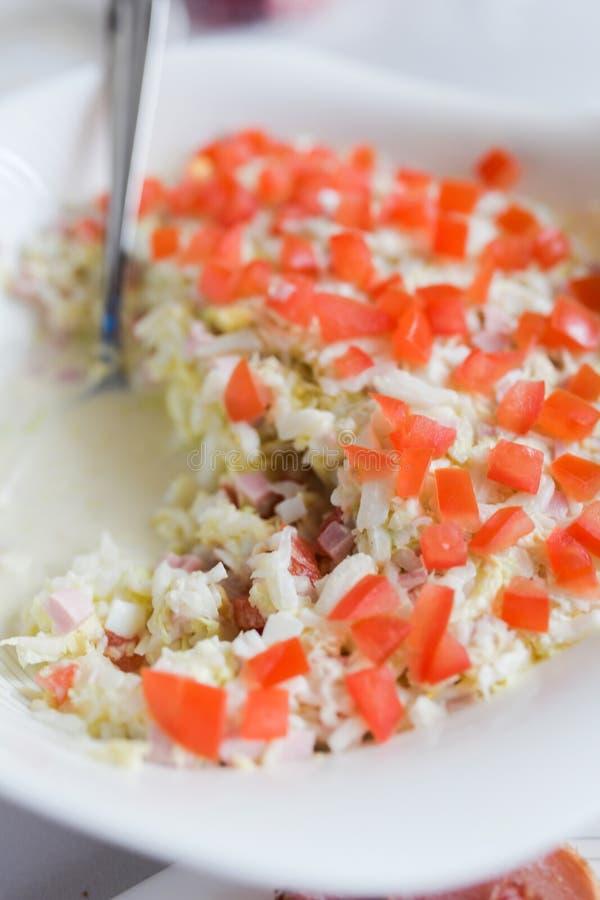 Salada vegetal vegetal Salada do legume fresco no branco fotografia de stock