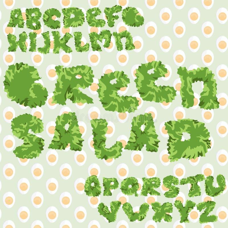 Salada verde ABC da folha com fundo sem emenda dos ovos, letras isoladas ilustração stock