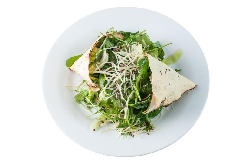Salada verde e queijo com papadum imagens de stock royalty free