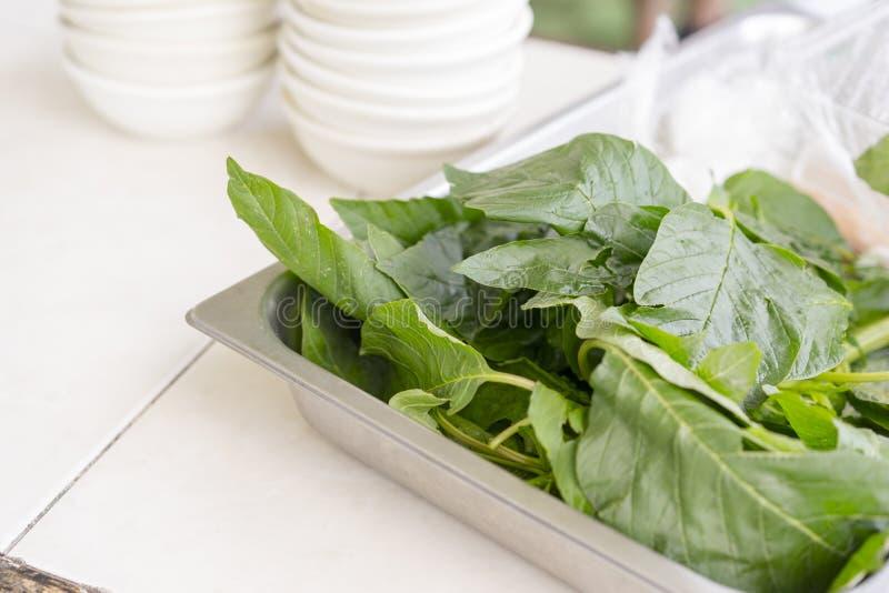 A salada verde fresca sae em uma tabela de bufete foto de stock