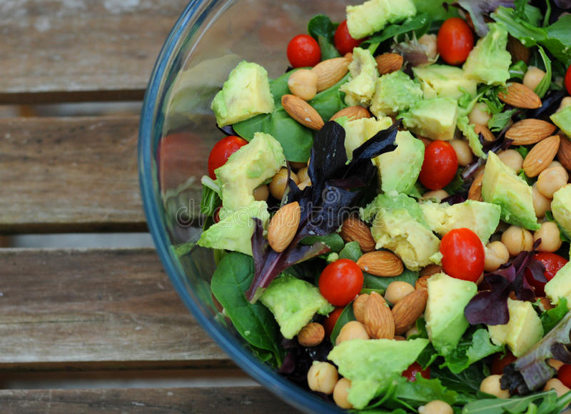 Salada verde misturada imagens de stock