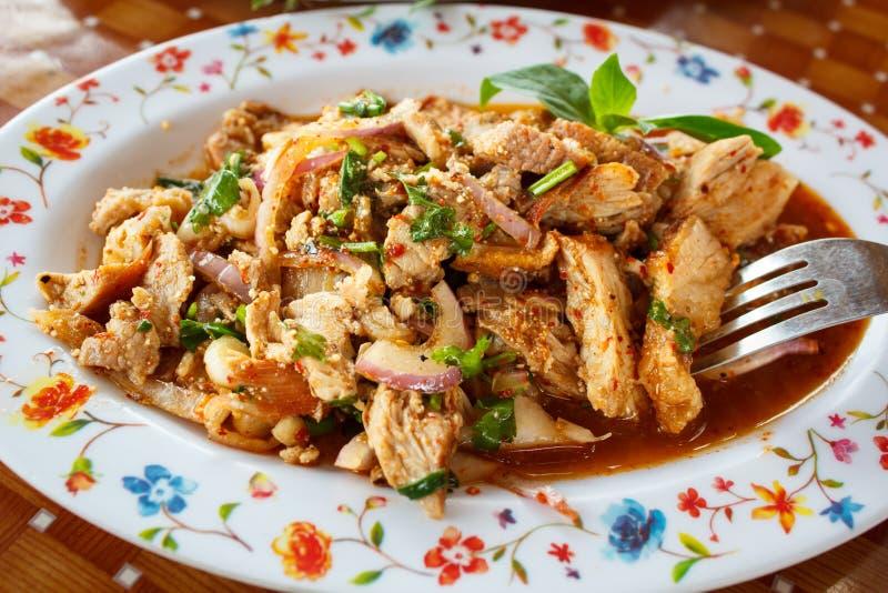 Salade épicée de porc, nourriture thaïlandaise image libre de droits