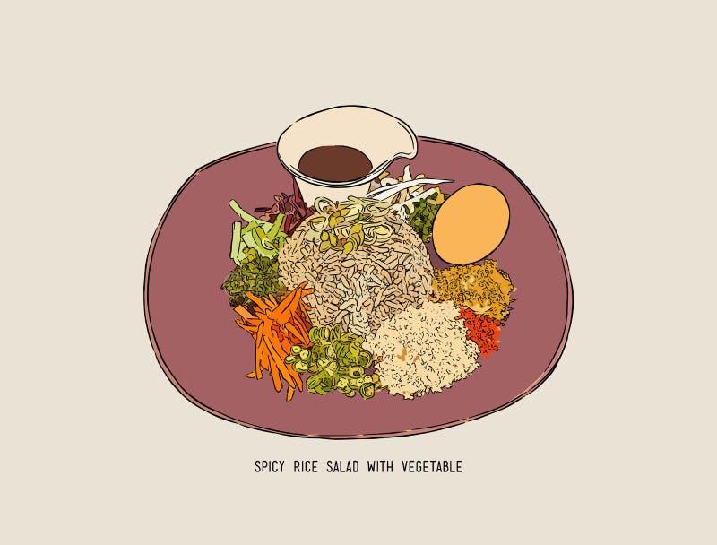 Salade épicée du sud thaïlandaise de riz avec des légumes, sketc d'aspiration de main illustration stock