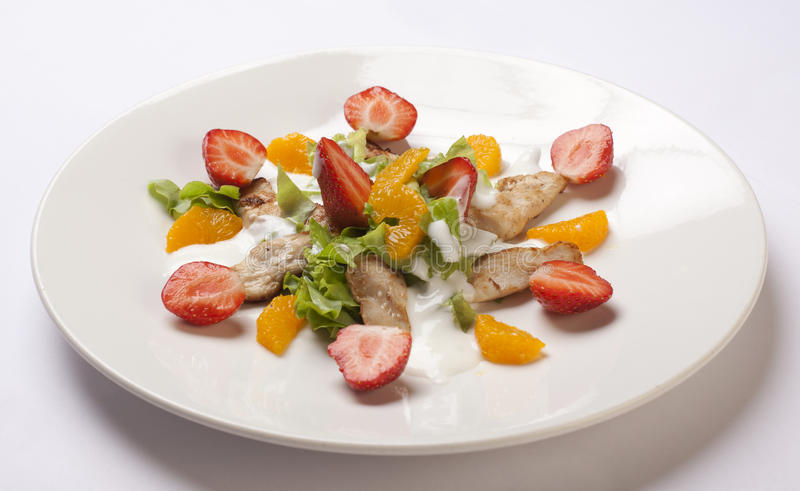Salade avec de la viande images stock