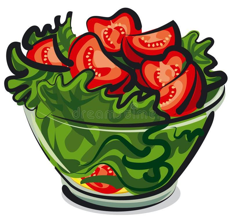 Salade avec des tomates illustration libre de droits