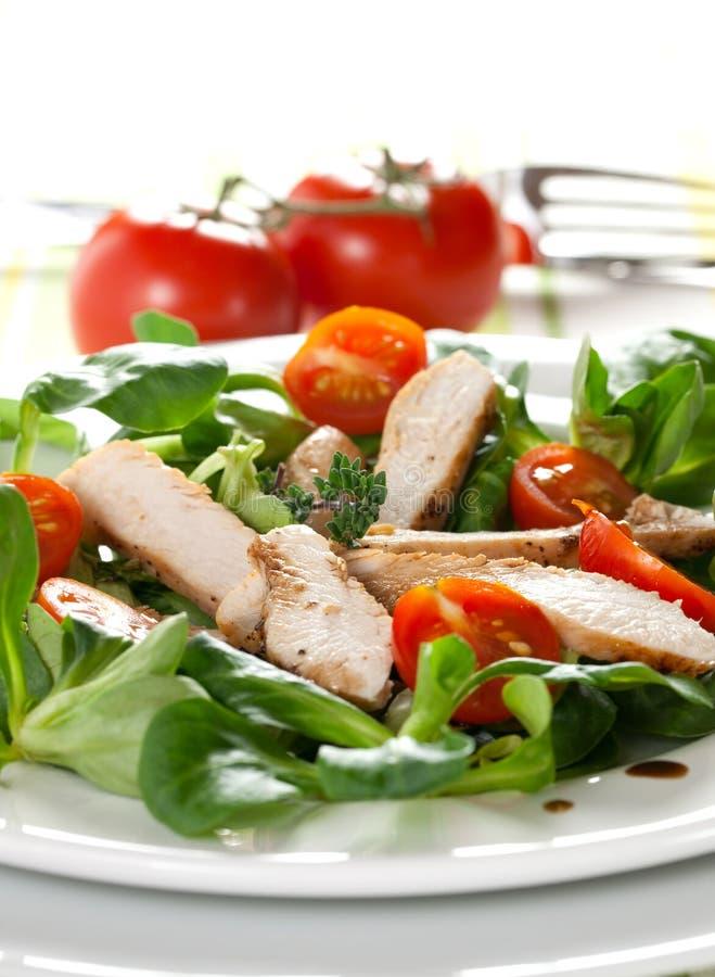 Salade avec du blanc de poulet photo libre de droits