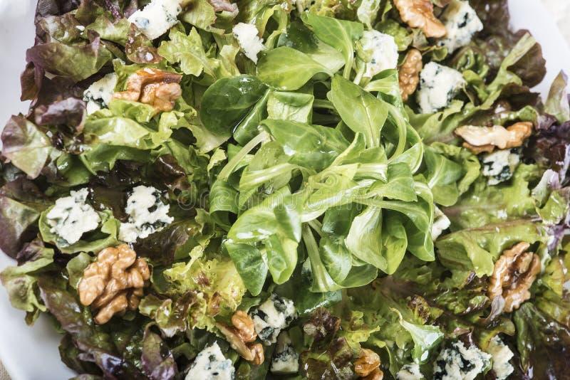 Salade avec du fromage bleu noix images libres de droits