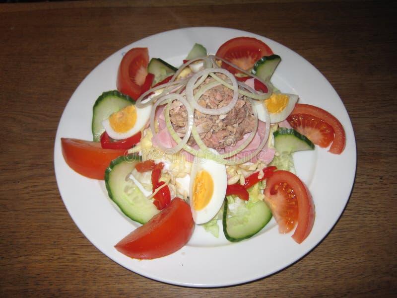 Salade avec du fromage, les tomates, le thon, les concombres et les oeufs photographie stock