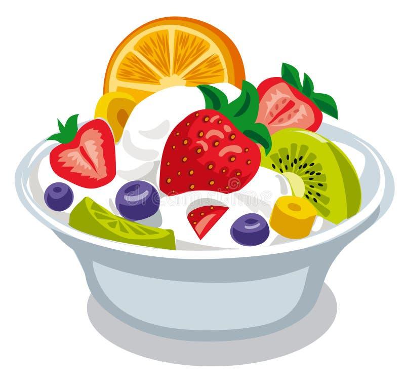 Salade avec du yaourt illustration libre de droits