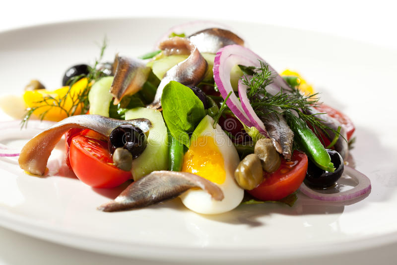 Salade avec l'anchois photos libres de droits
