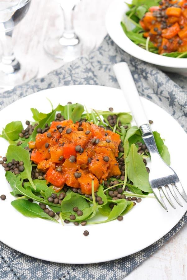 Salade avec l'arugula, les lentilles noires et les légumes photographie stock libre de droits