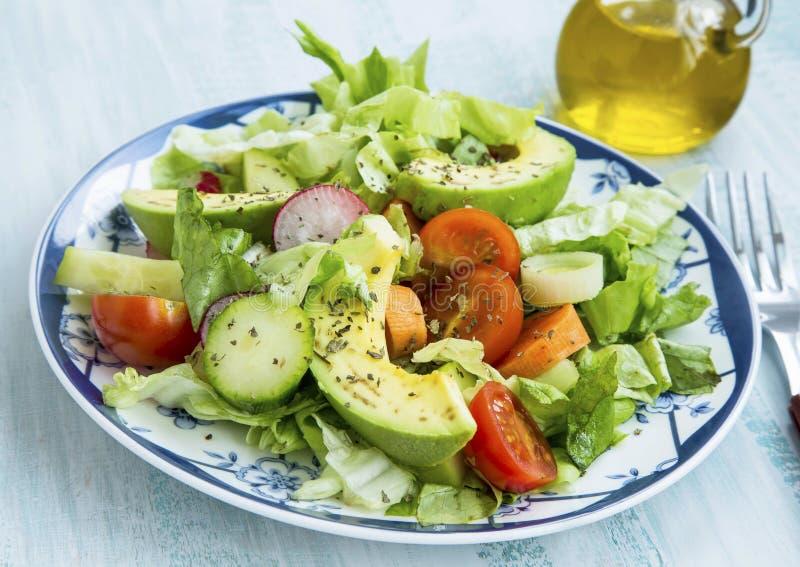 Salade avec l'avocat, la laitue, les tomates, le radis, les oignons et les épices photographie stock