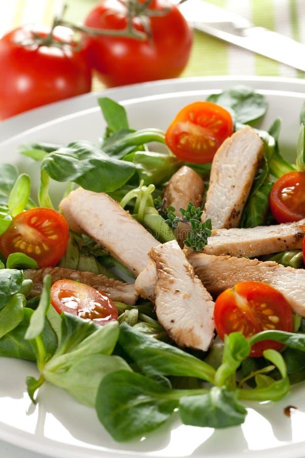 Salade avec la tomate et le poulet photographie stock libre de droits