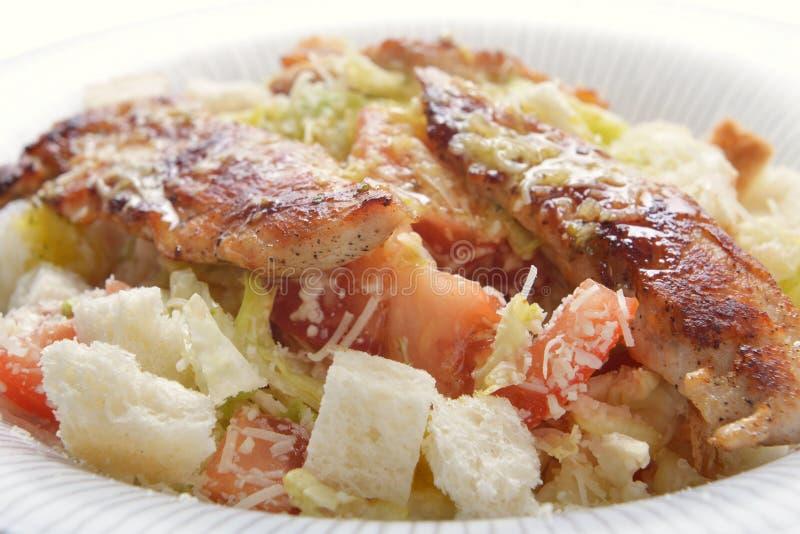 Salade avec le croûton et la viande images libres de droits