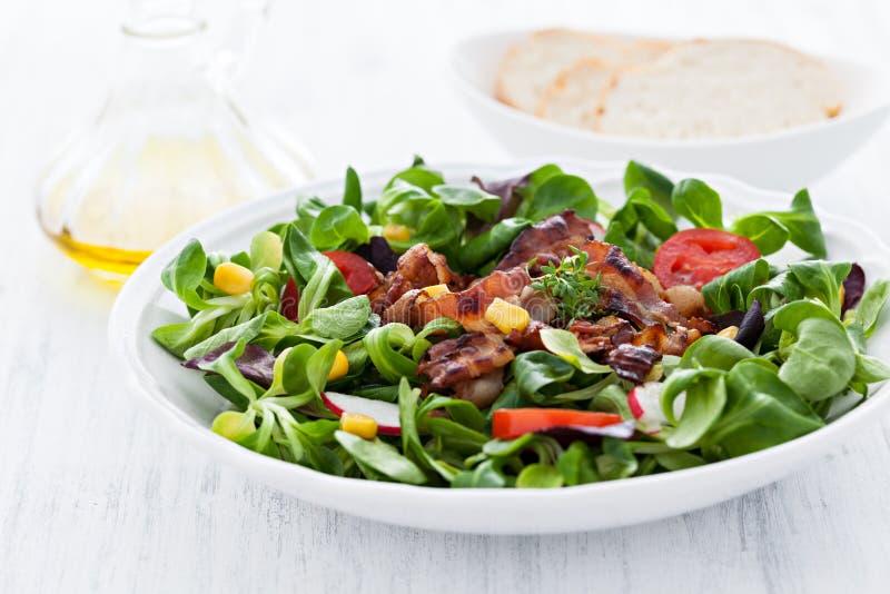 Salade avec le lard image stock
