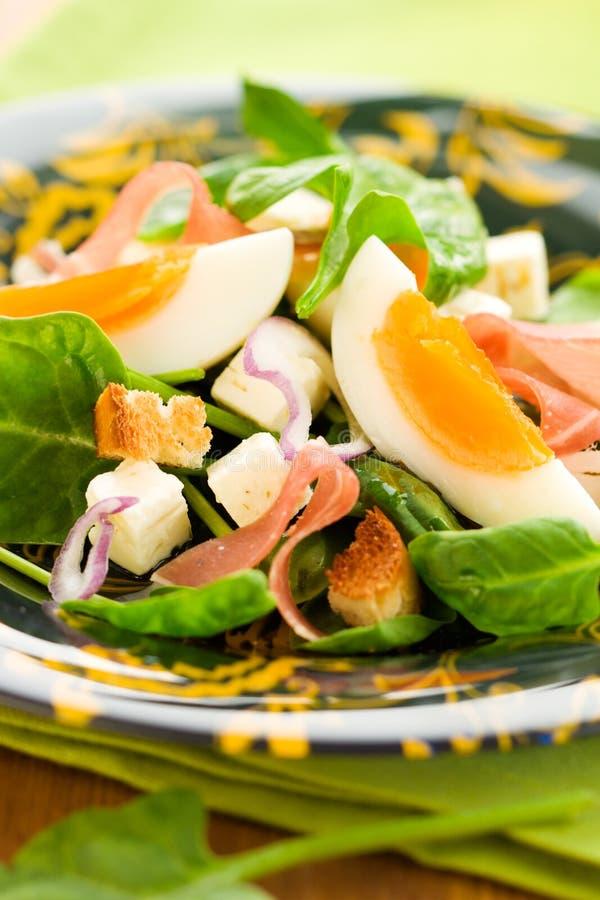 Salade avec les épinards, l'oeuf et le jambon images libres de droits