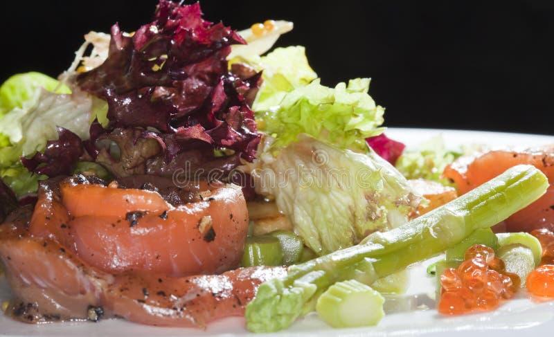 Salade avec les poissons rouges image libre de droits
