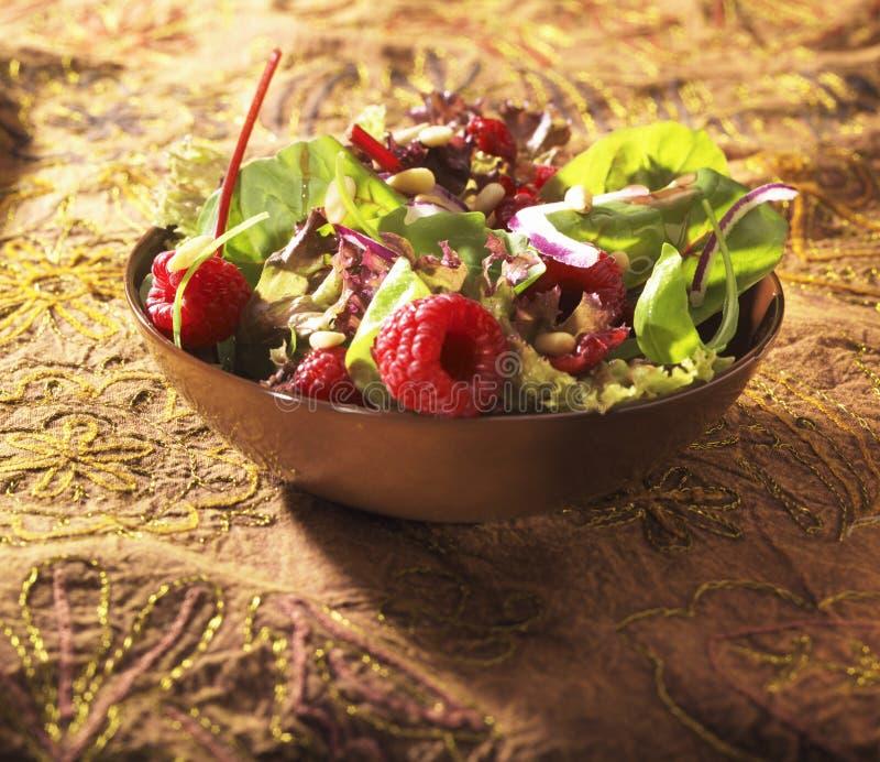 Salade con i rasberries fotografia stock