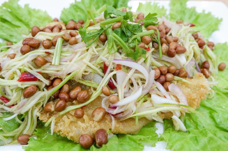 Salade croustillante de poisson-chat avec la mangue verte photographie stock