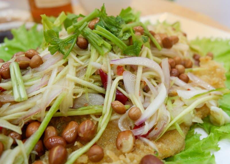 Salade croustillante de poisson-chat avec la mangue verte image libre de droits