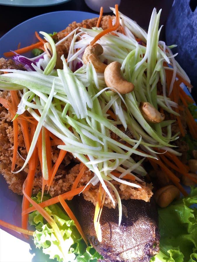 Salade croustillante de poisson-chat avec la mangue verte du plat photos stock