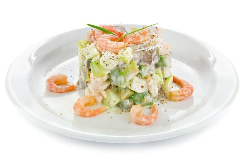 Salade d'avocat et de pomme de crevette images libres de droits