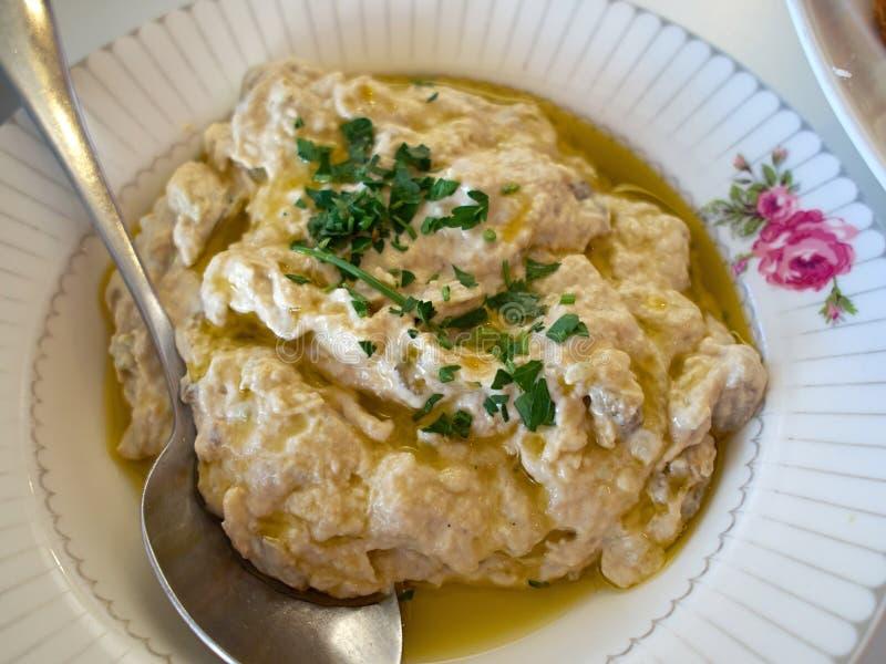 Salade d'immersion d'aubergine d'aubergine - meze méditerranéen photo libre de droits
