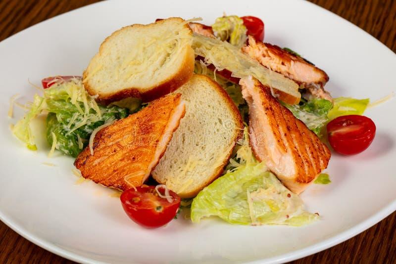 Salade de César avec des saumons photographie stock libre de droits