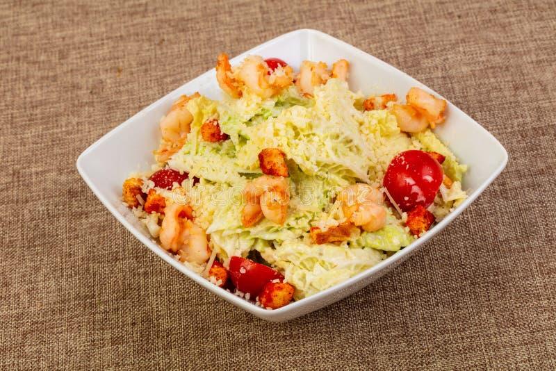 Salade de César avec la crevette rose photos stock