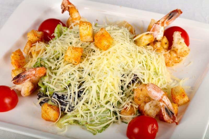 Salade de César avec la crevette rose images stock