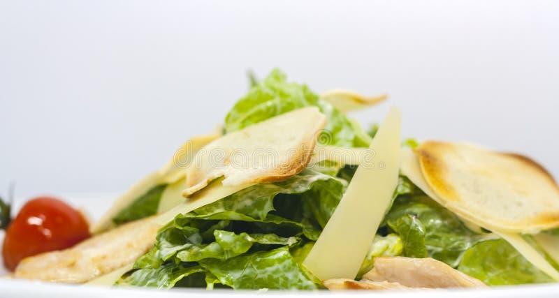 Salade de César avec les croûtons, le fromage, la laitue et les tomates marinées sur un fond blanc photographie stock libre de droits
