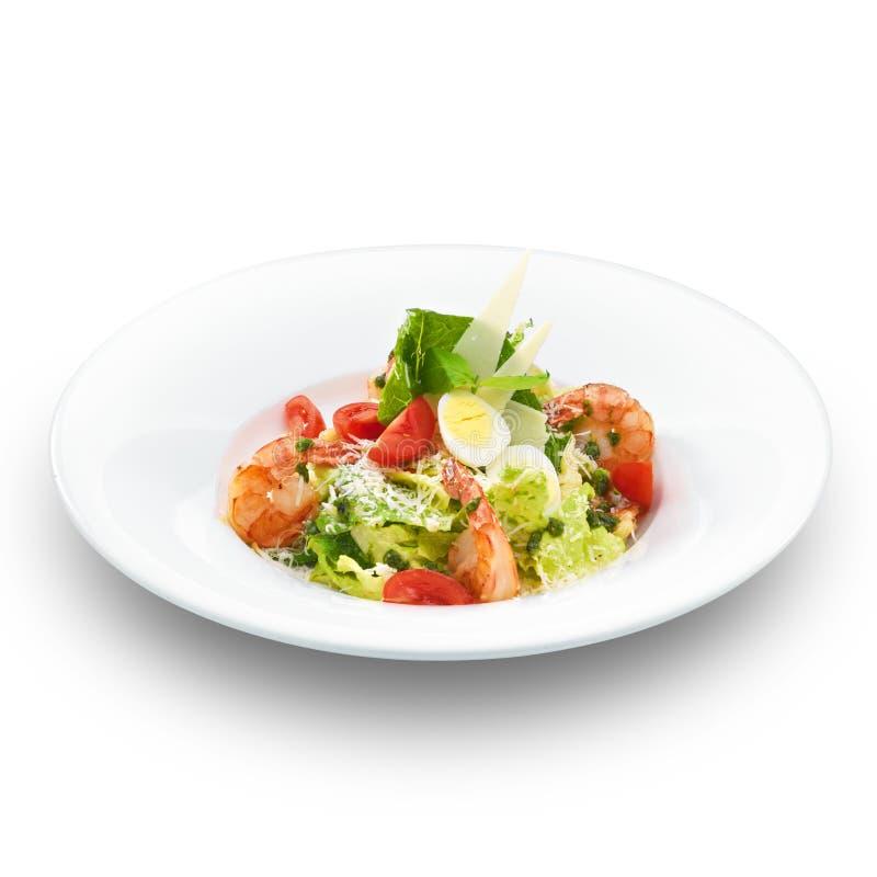 Salade de César d'Italien avec les crevettes royales images stock