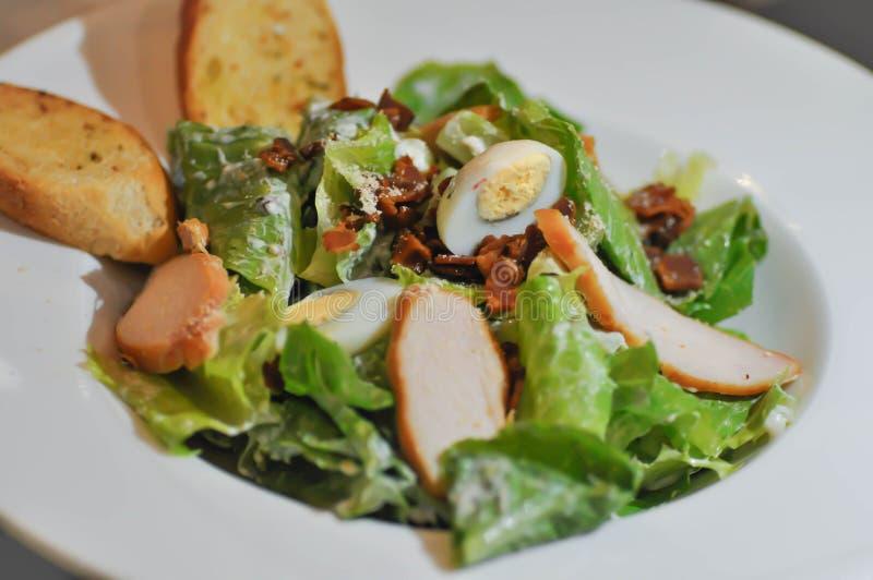 Salade de César ou salade de poulet avec l'oeuf image libre de droits