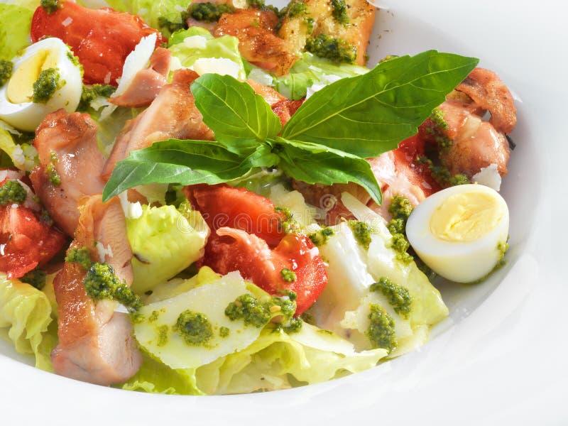 Salade de César saine savoureuse avec le basilic doux et la laitue photographie stock