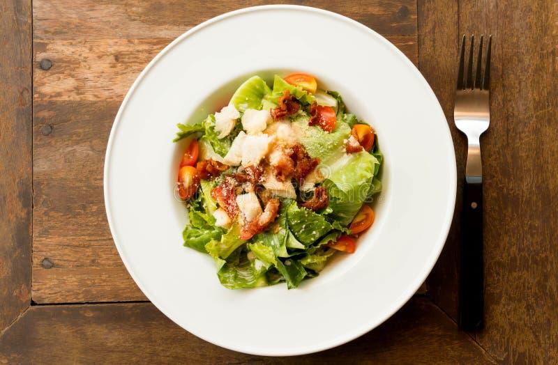 Salade de Cesar dans le plat blanc image libre de droits