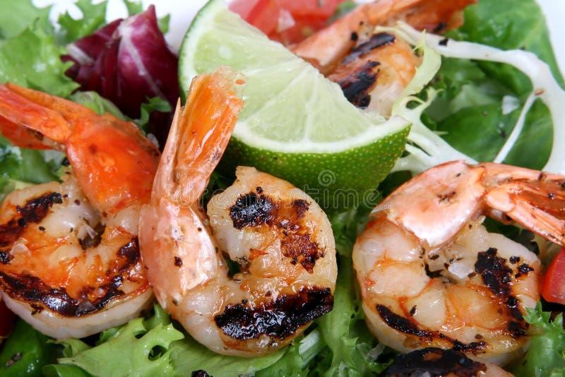 Salade de crevette de crevette rose de tigre, grillée photographie stock