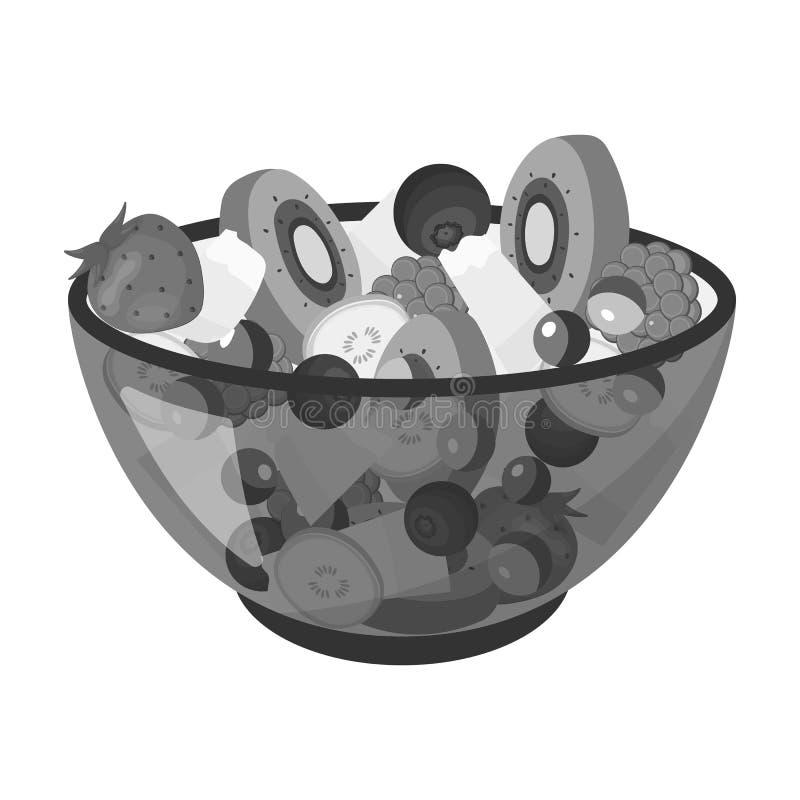 Salade de divers genres de fruit Icône simple de fruit dans le style monochrome illustration libre de droits