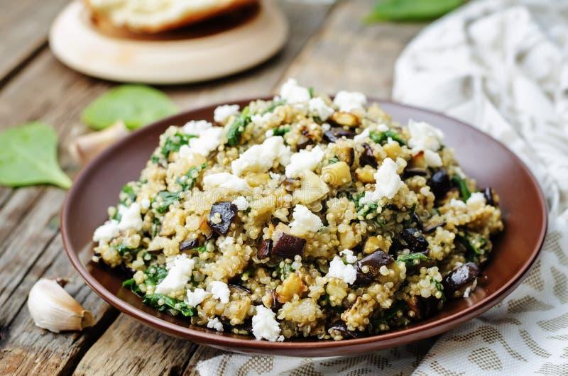 Salade de feta d'aubergine d'épinards de quinoa image stock