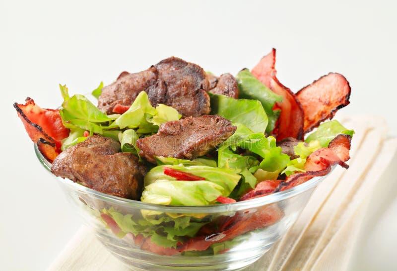 Salade de foie de poulet photos stock