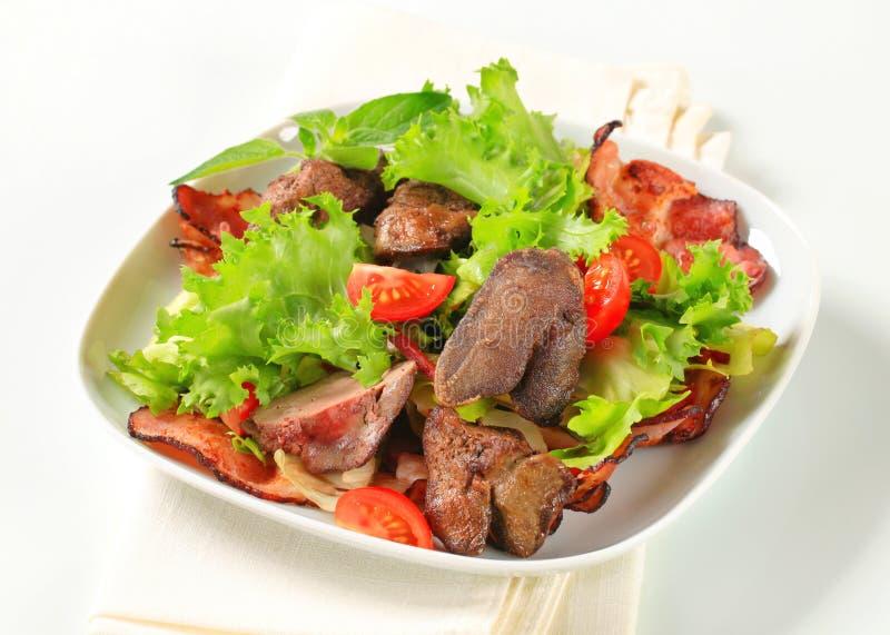 Salade de foie de poulet photographie stock libre de droits
