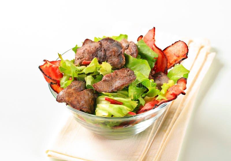 Salade de foie de poulet images stock