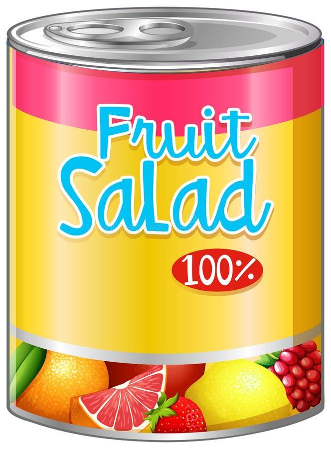 Salade de fruits dans la boîte en aluminium illustration stock